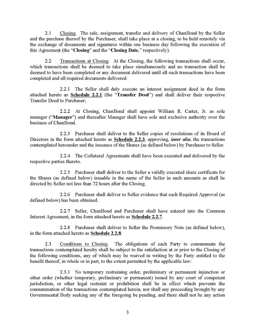Issuer direct filings chanbond llc purchase agreement platinumwayz